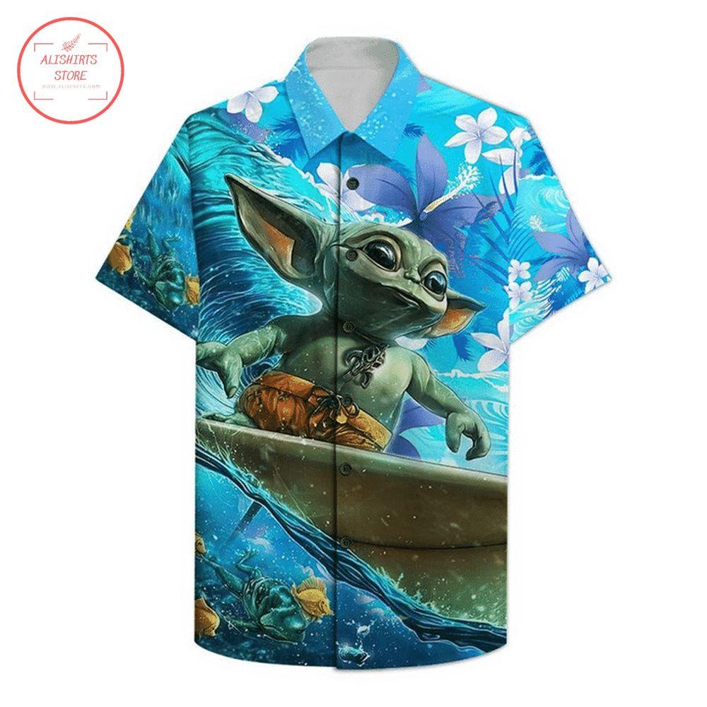 Surfing baby yoda hawaiian shirt