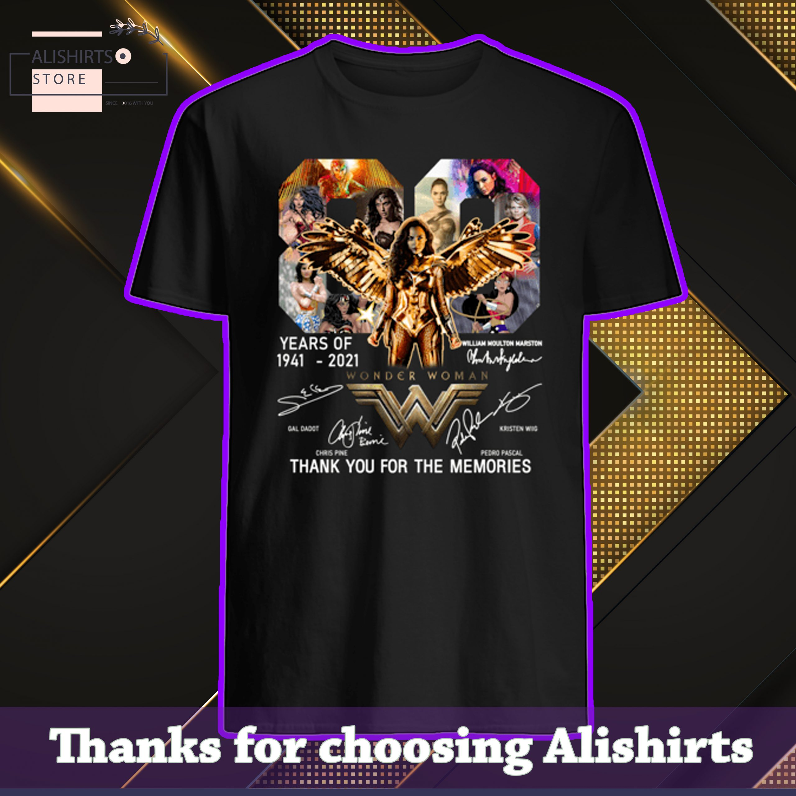 Wonder Woman 80 years of 1941-2021 thank you for the memories tshirt