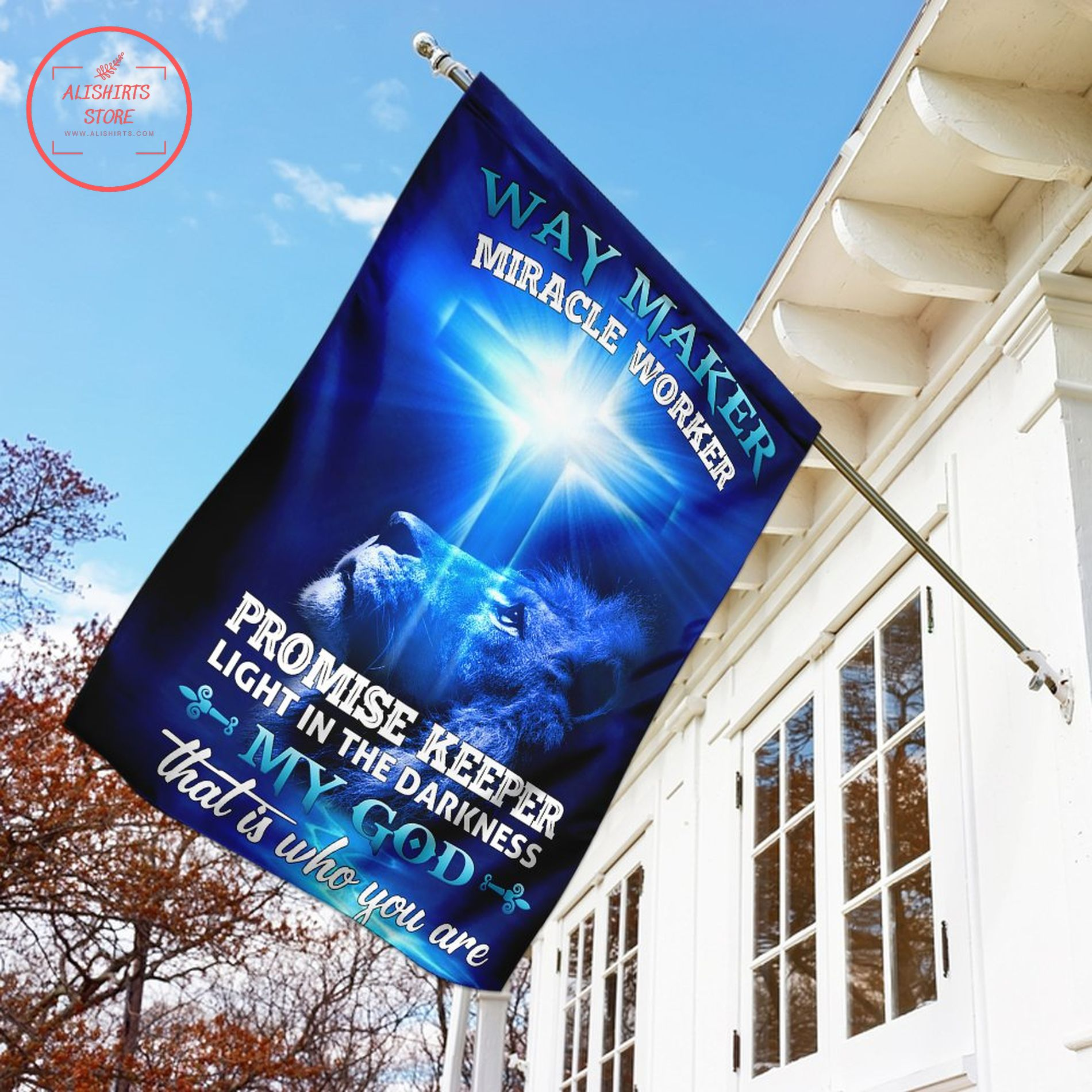 Blue way maker miracle worker promise keeper flag