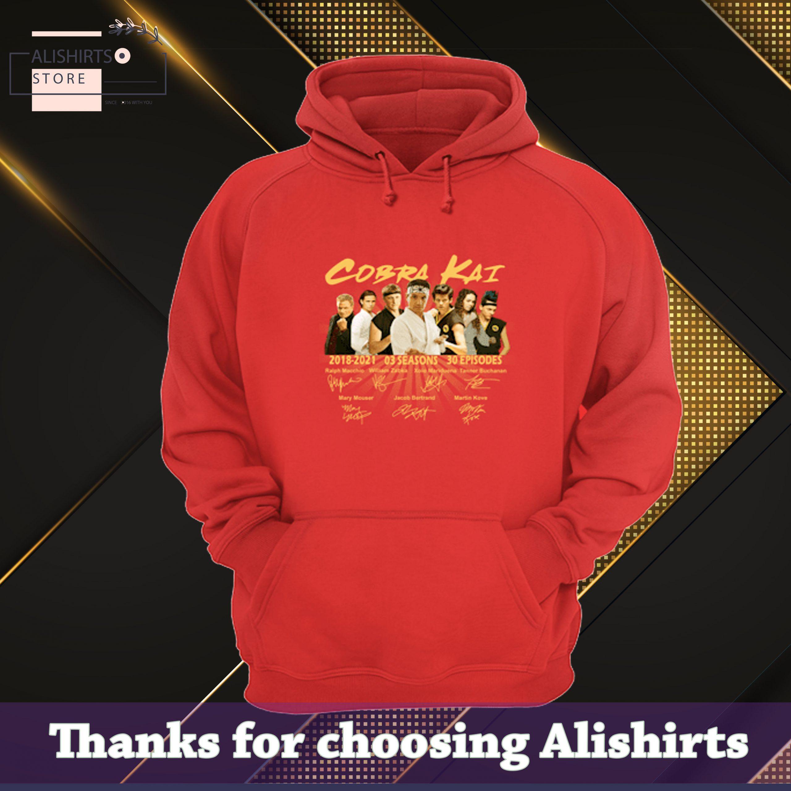 HOT Cobra Kai 2018 2021 03 Seasons Thank You For The Memories Signatures shirt, Hoodie, Tank Top