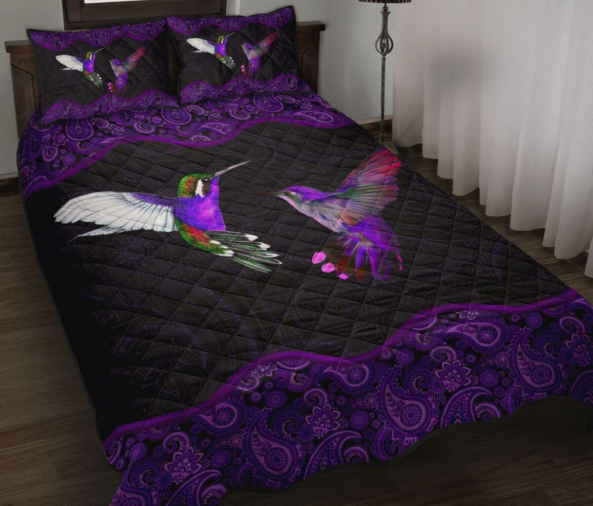 Purple bird bedding set