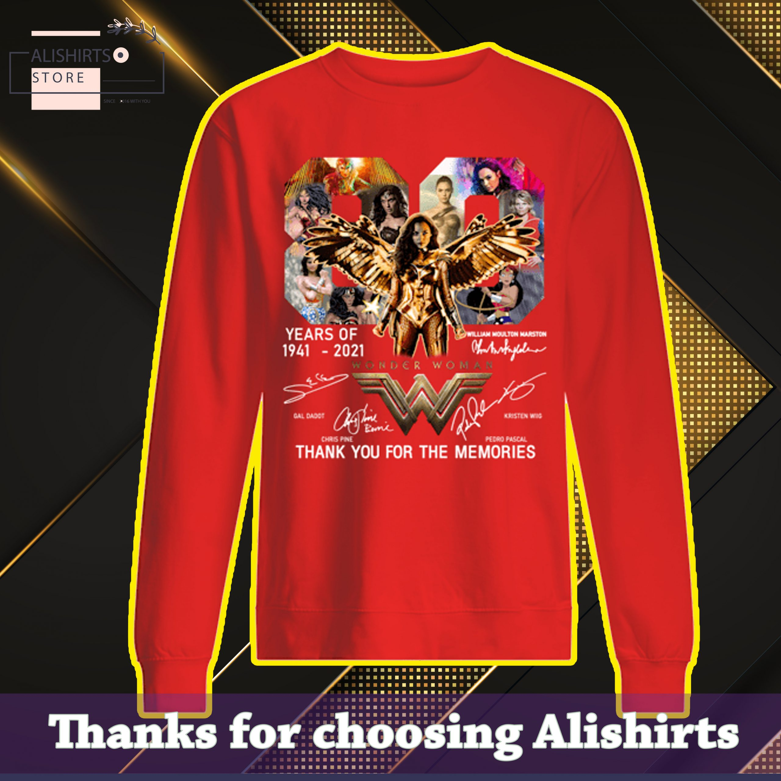 Wonder Woman 80 years of 1941-2021 thank you for the memories swaetshirt