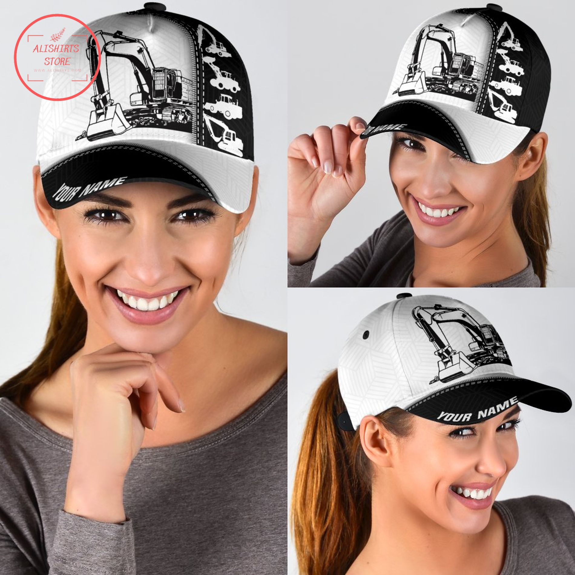 Excavator name personalized hats