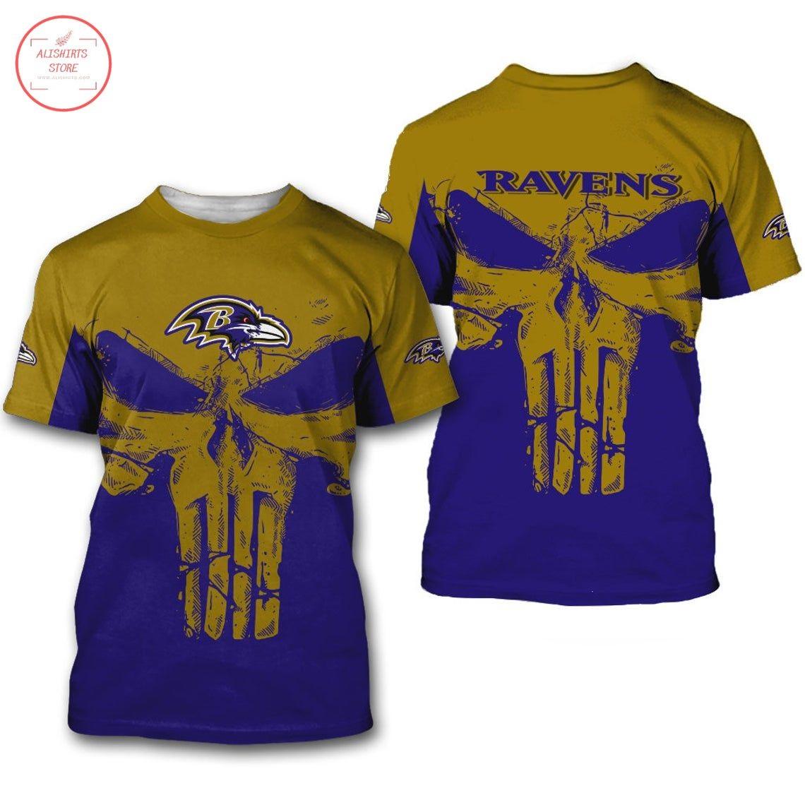 Baltimore Ravens NFL Punisher Skull Shirt