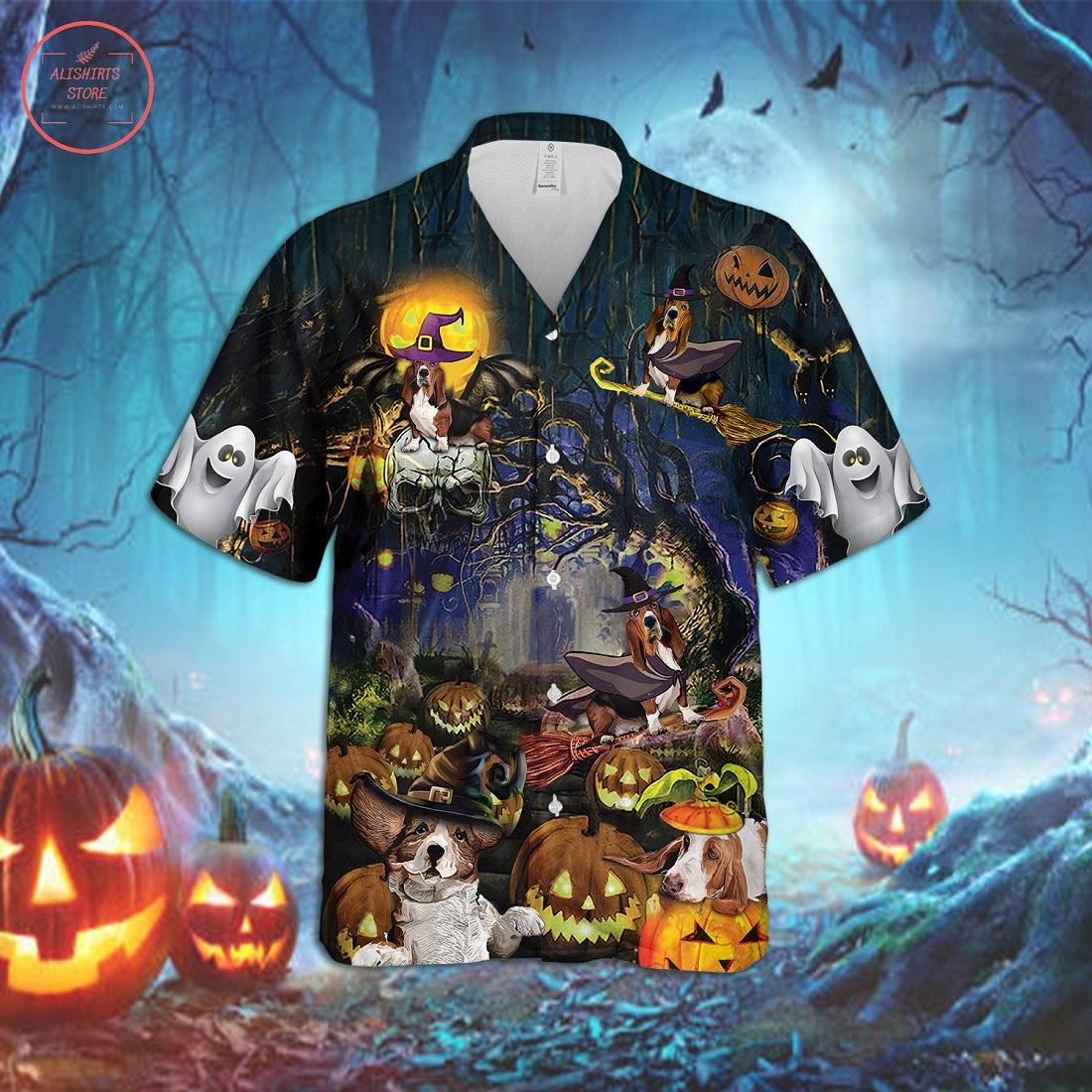 Basset Hound Halloween Hawaiian Shirt