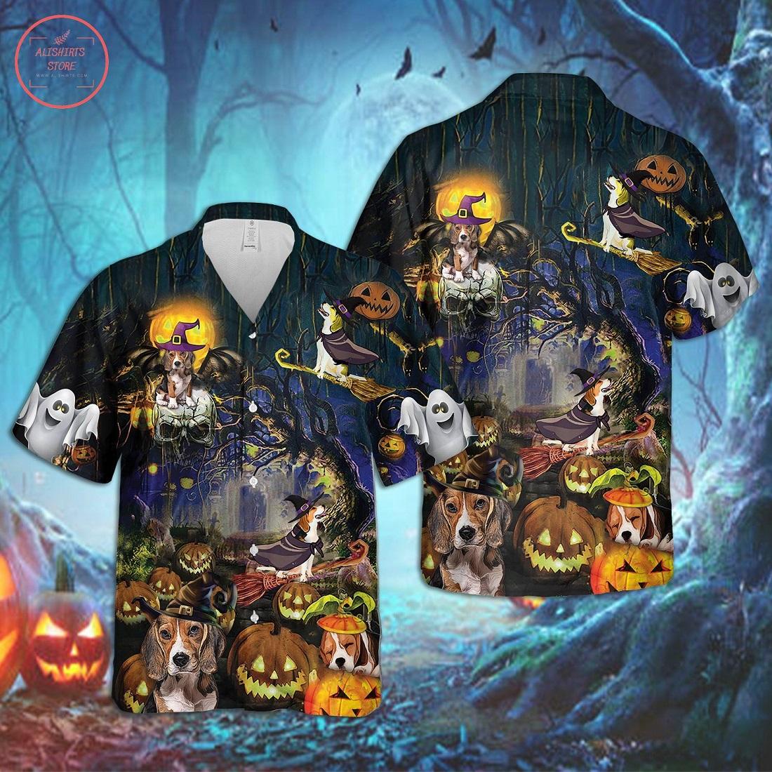 Beagle Dog Halloween Hawaiian Shirt