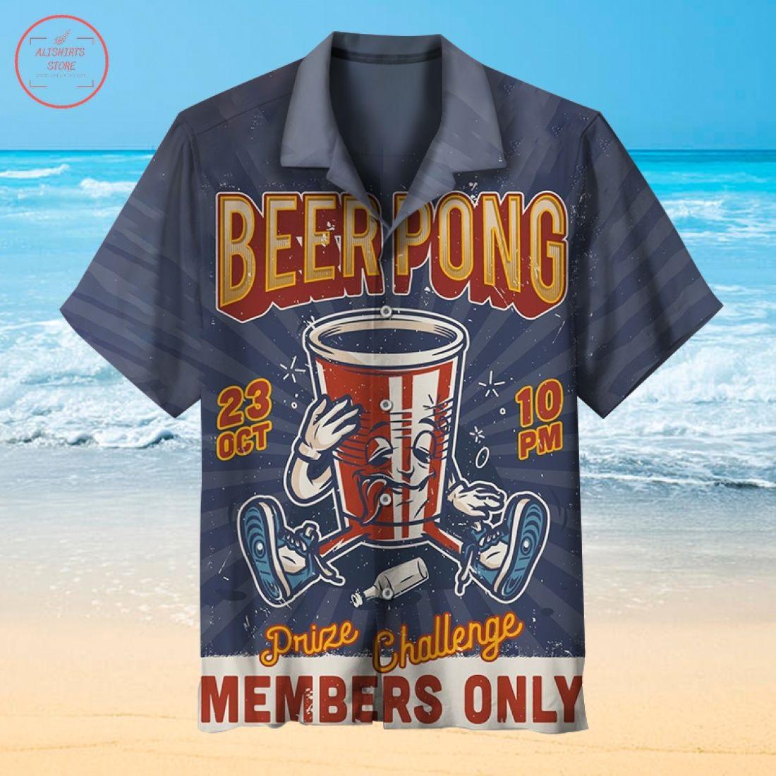 Beer pong drink challenge Hawaiian shirt