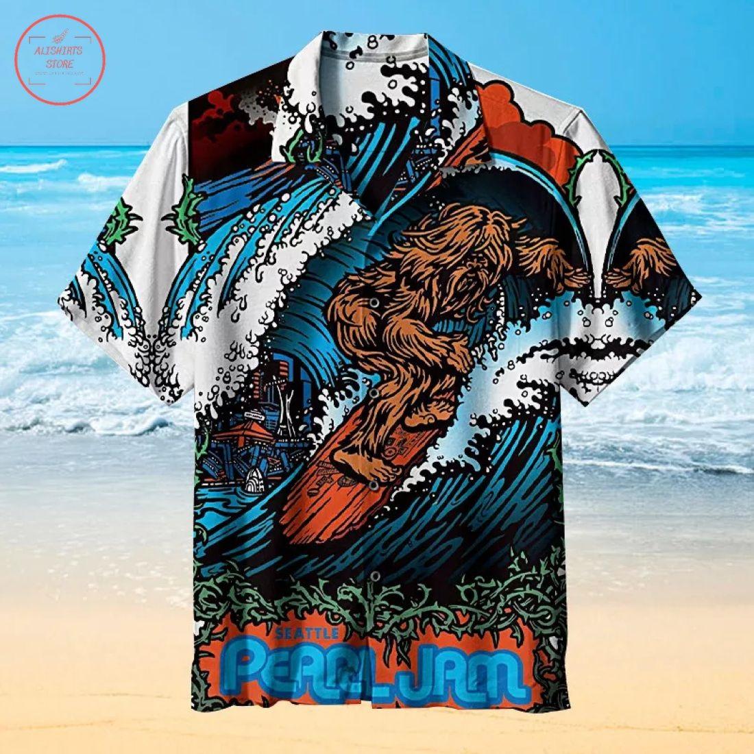 Bigfoot surfing Hawaiian Shirt