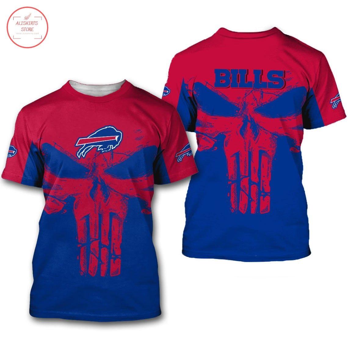 Buffalo Bills NFL Punisher Skull Shirt