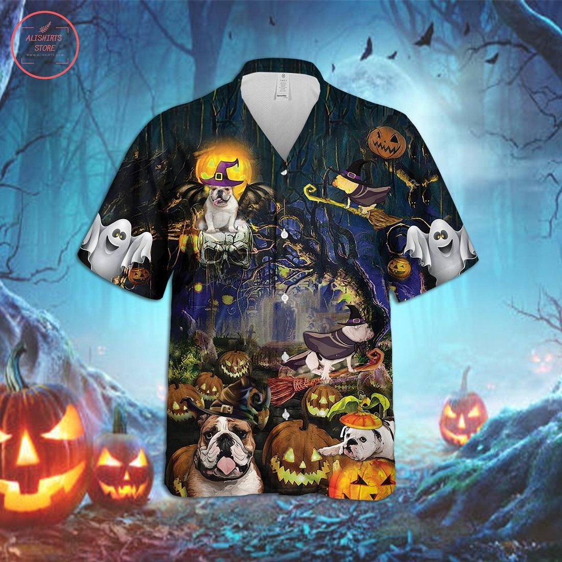 Bulldog Halloween Hawaiian Shirt