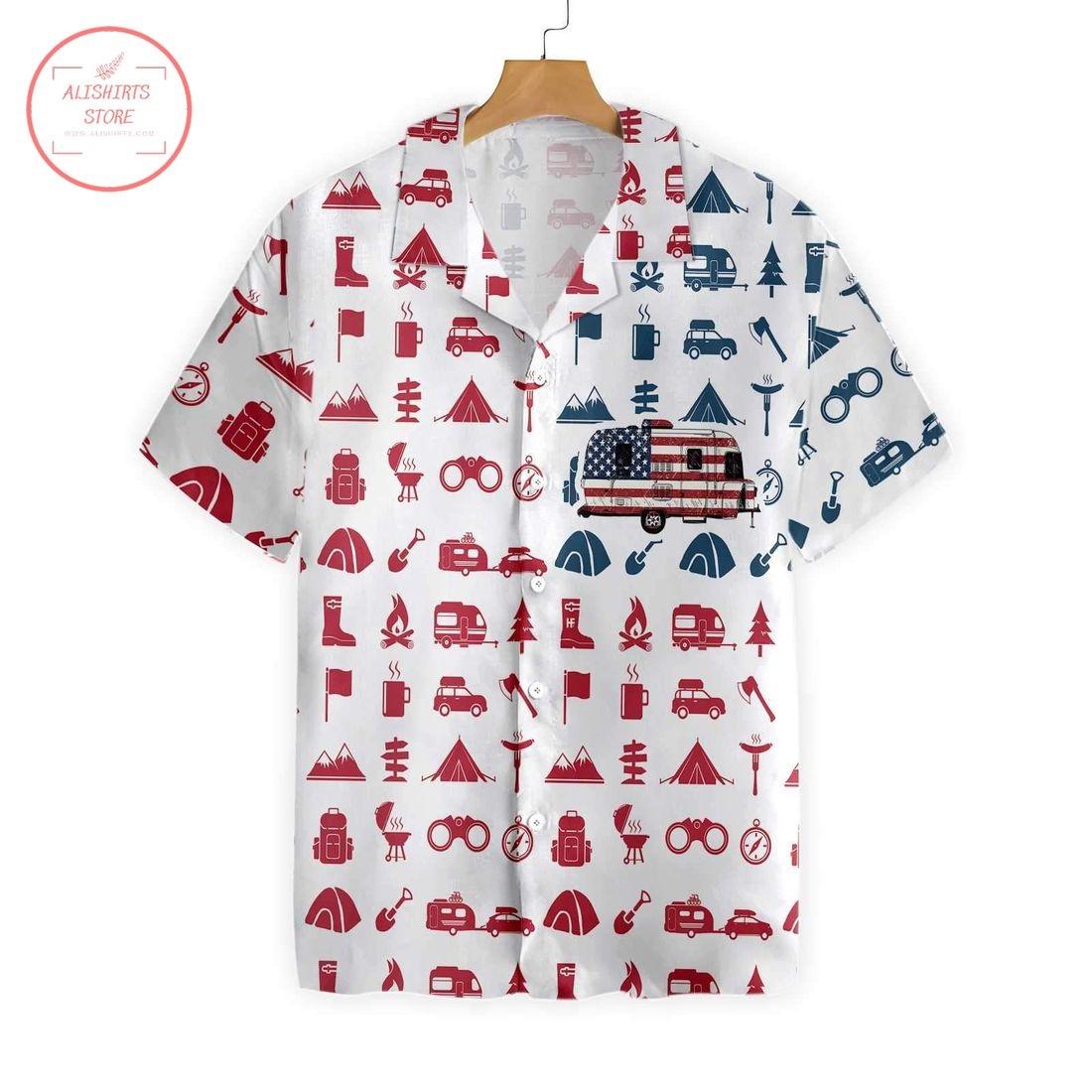 Campervan American Flag Hawaiian Shirt