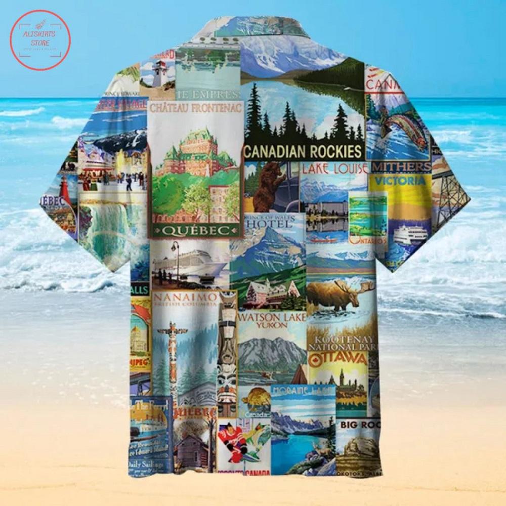 Canadian Landscape Drawing Hawaiian Shirt