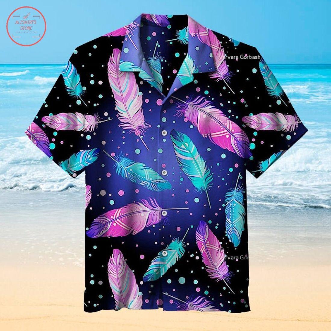 Colorful Feathers Under The Stars Hawaiian Shirt