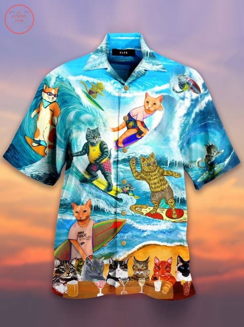 Cool surfing cat unisex Hawaiian Shirt