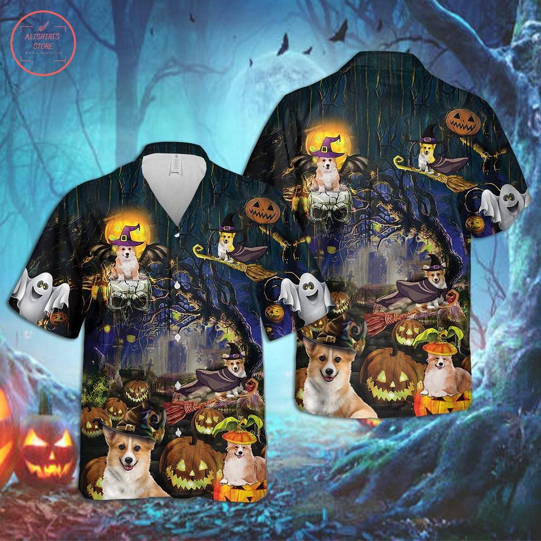 Corgi Dog Halloween Hawaiian Shirt