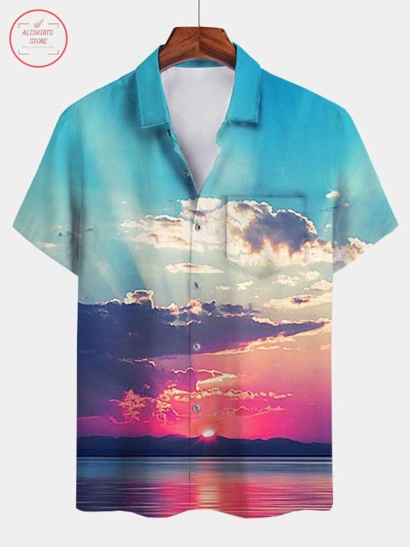 Cotton-Blend Square Neck Vintage Hawaiian Shirt