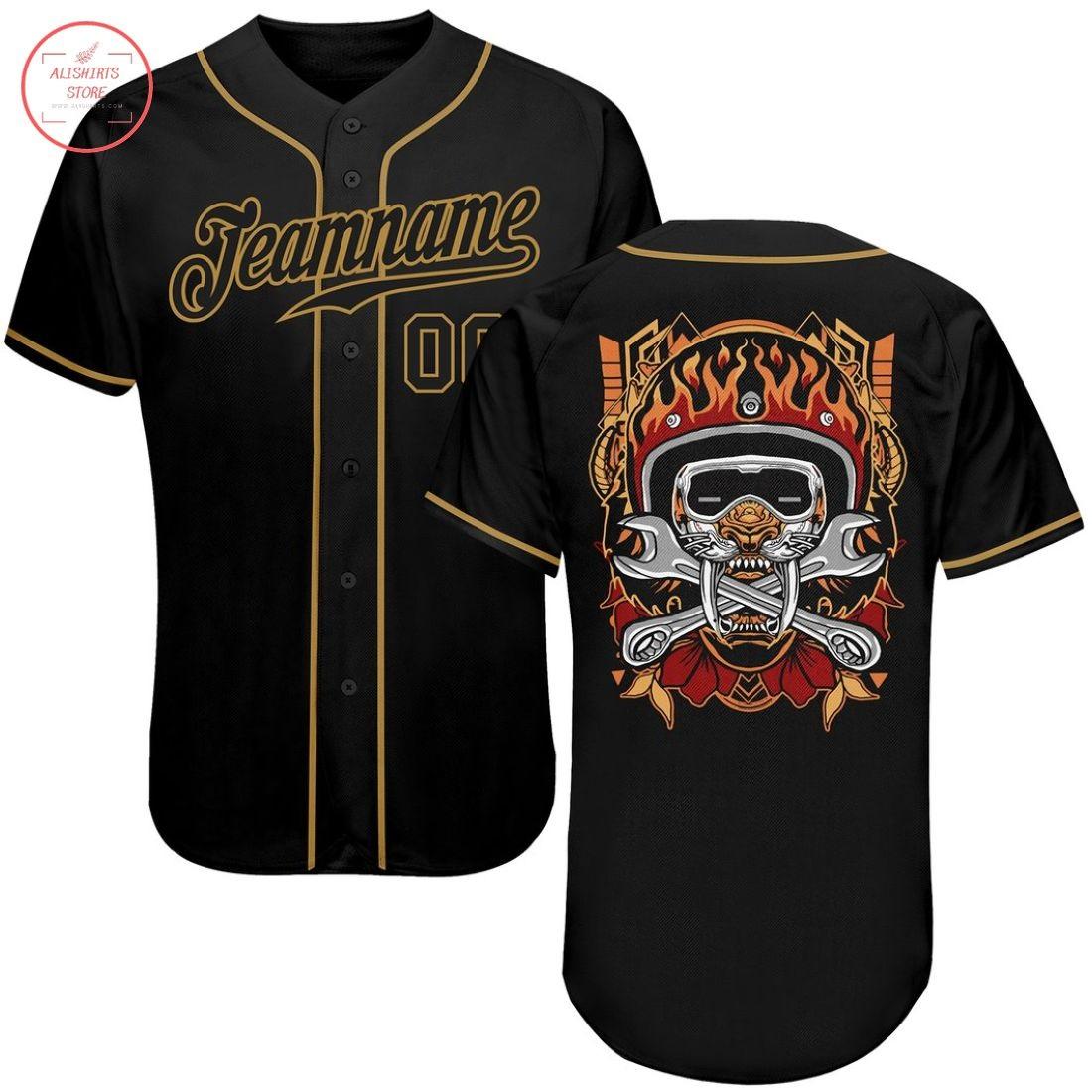 Custom Black Black-Old Gold Authentic Skull Baseball Jersey