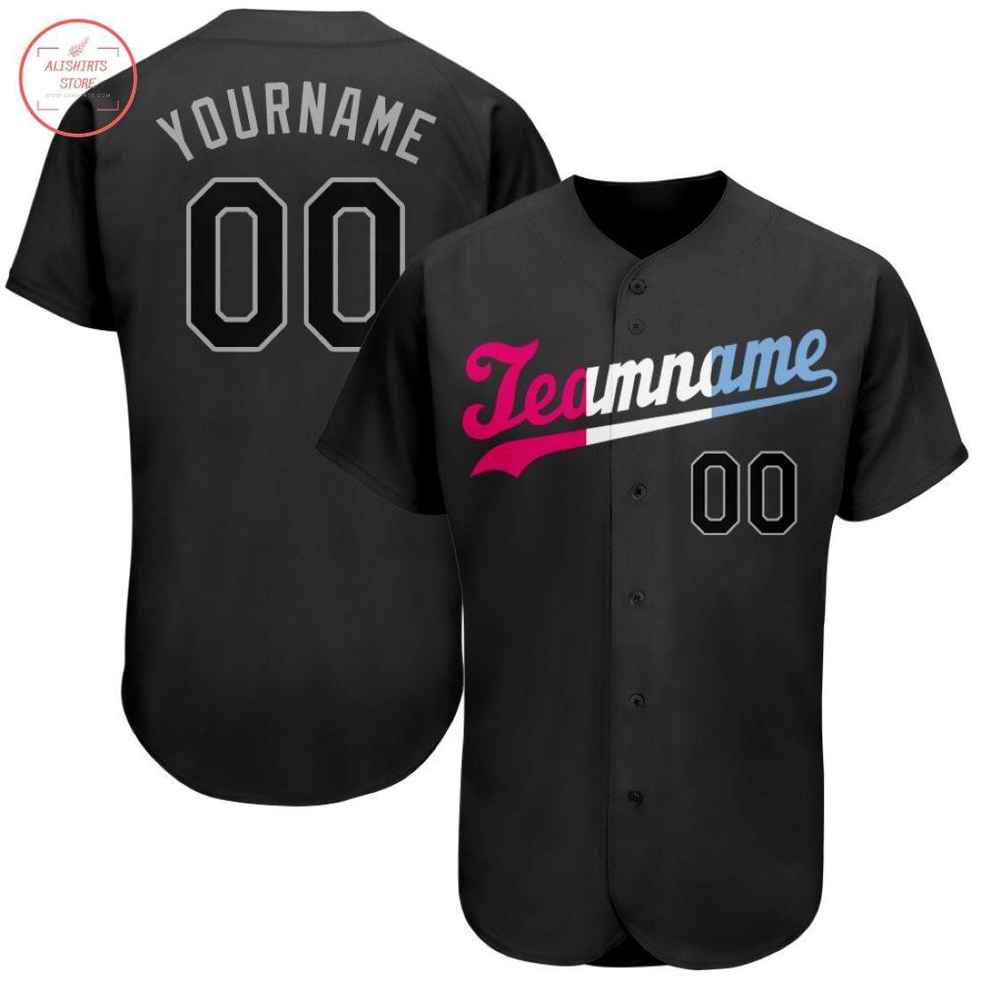 Custom Black Black-Pink Baseball Jersey