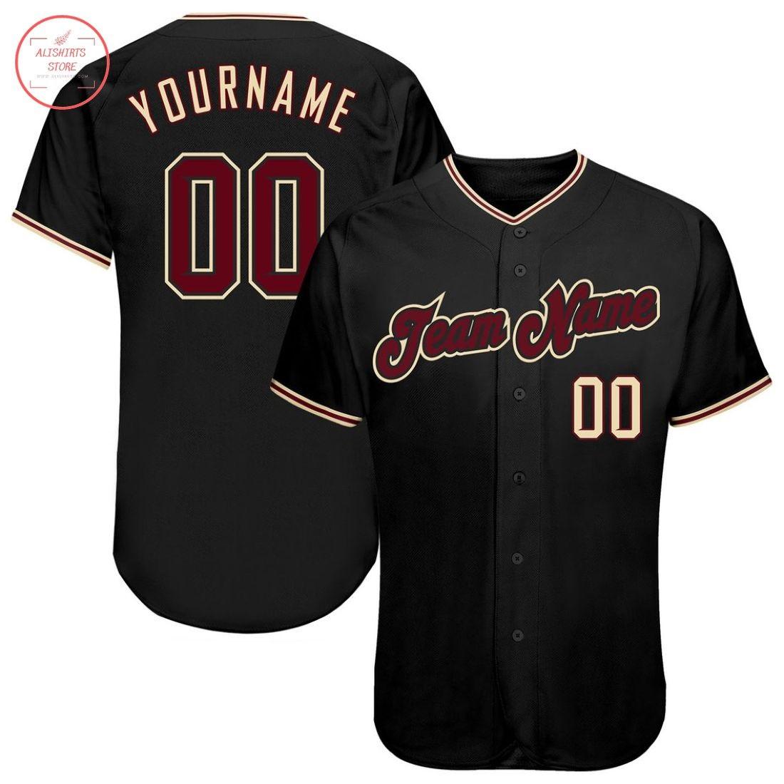 Custom Black Crimson Khaki Baseball Jersey