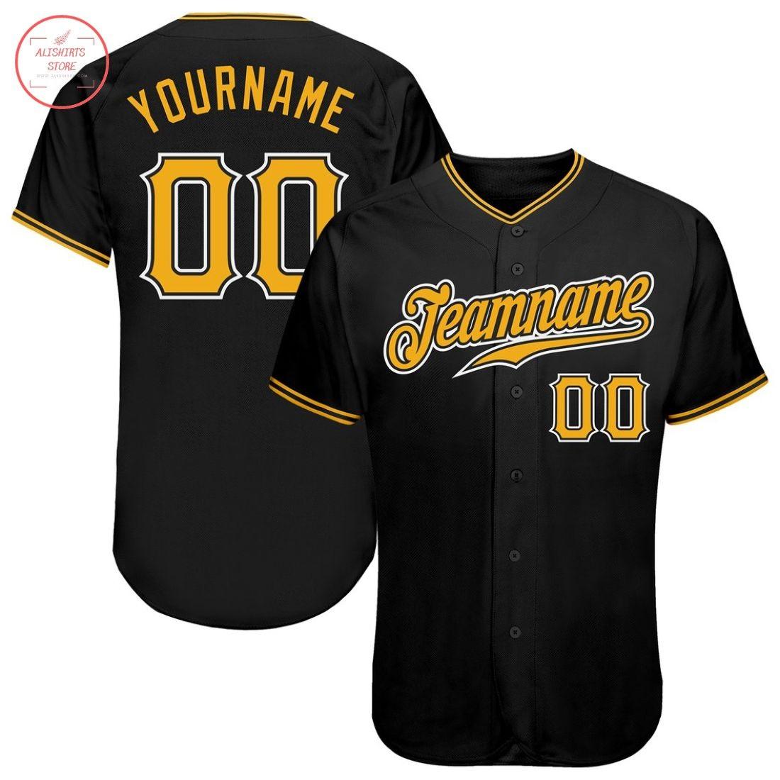 Custom Black Gold White Baseball Jersey