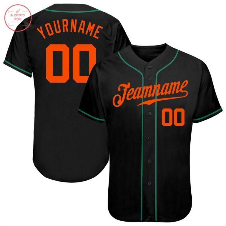 Custom Black Orange Kelly Green Baseball Jersey