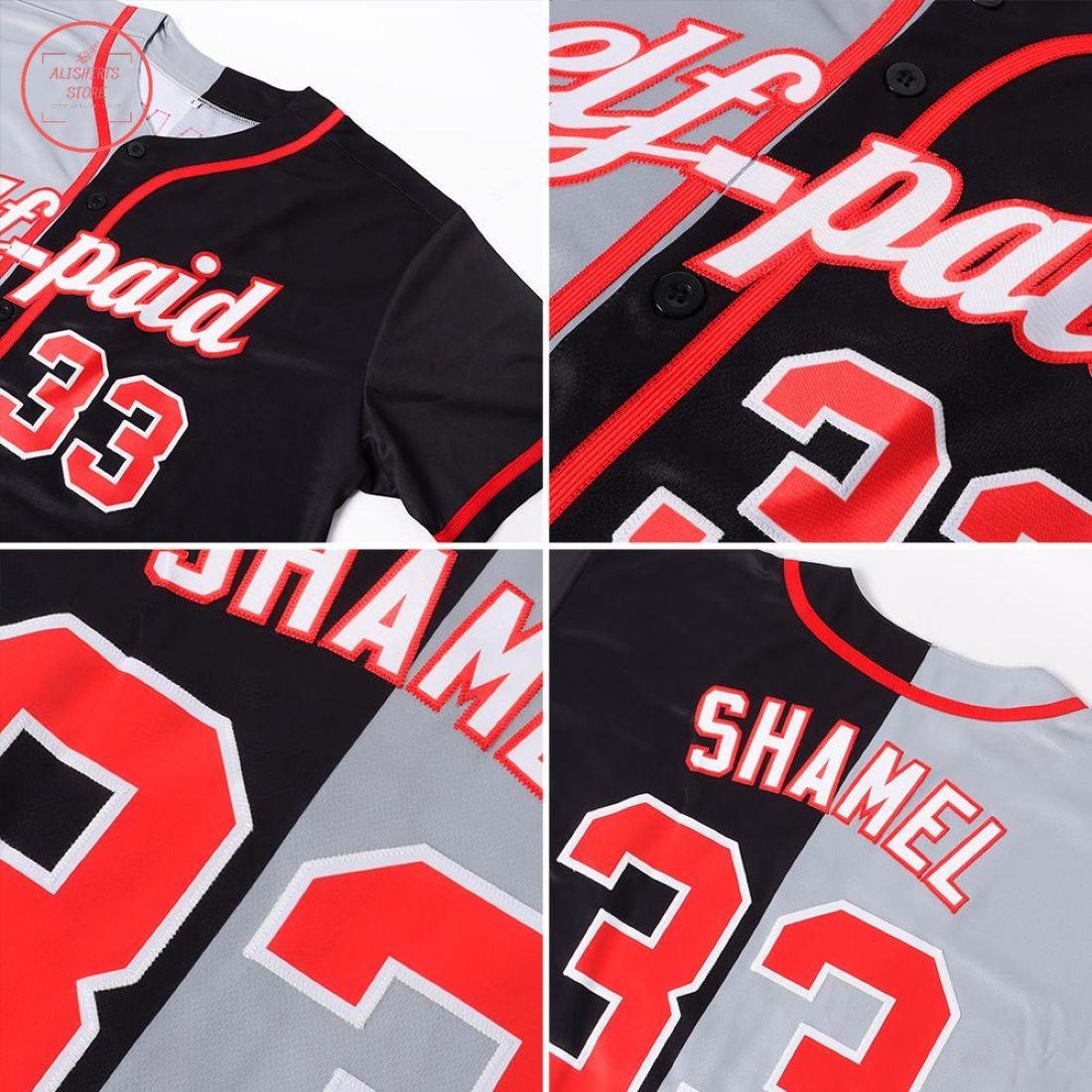 Custom Black Red-Gray Split Baseball Jersey