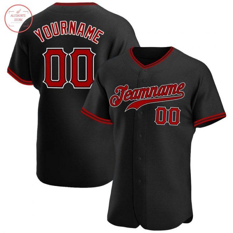 Custom Black Red White Baseball Jersey