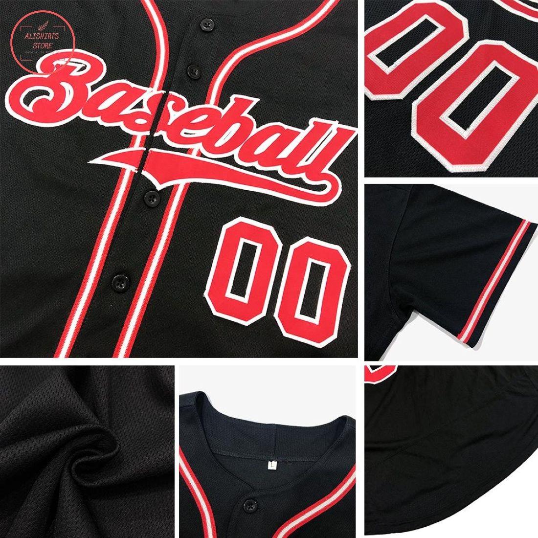Custom Black Vintage USA Flag Baseball Jersey