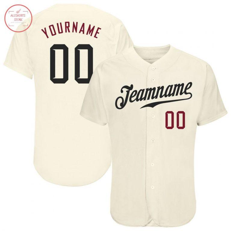 Custom Cream Black Crimson Baseball Jersey