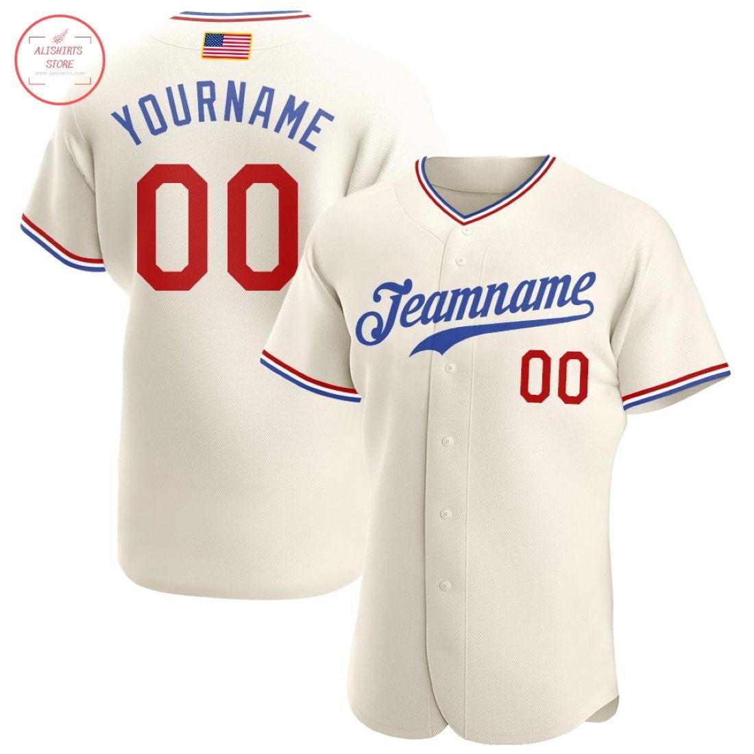 Custom Cream Red-Royal American Flag Baseball Jersey