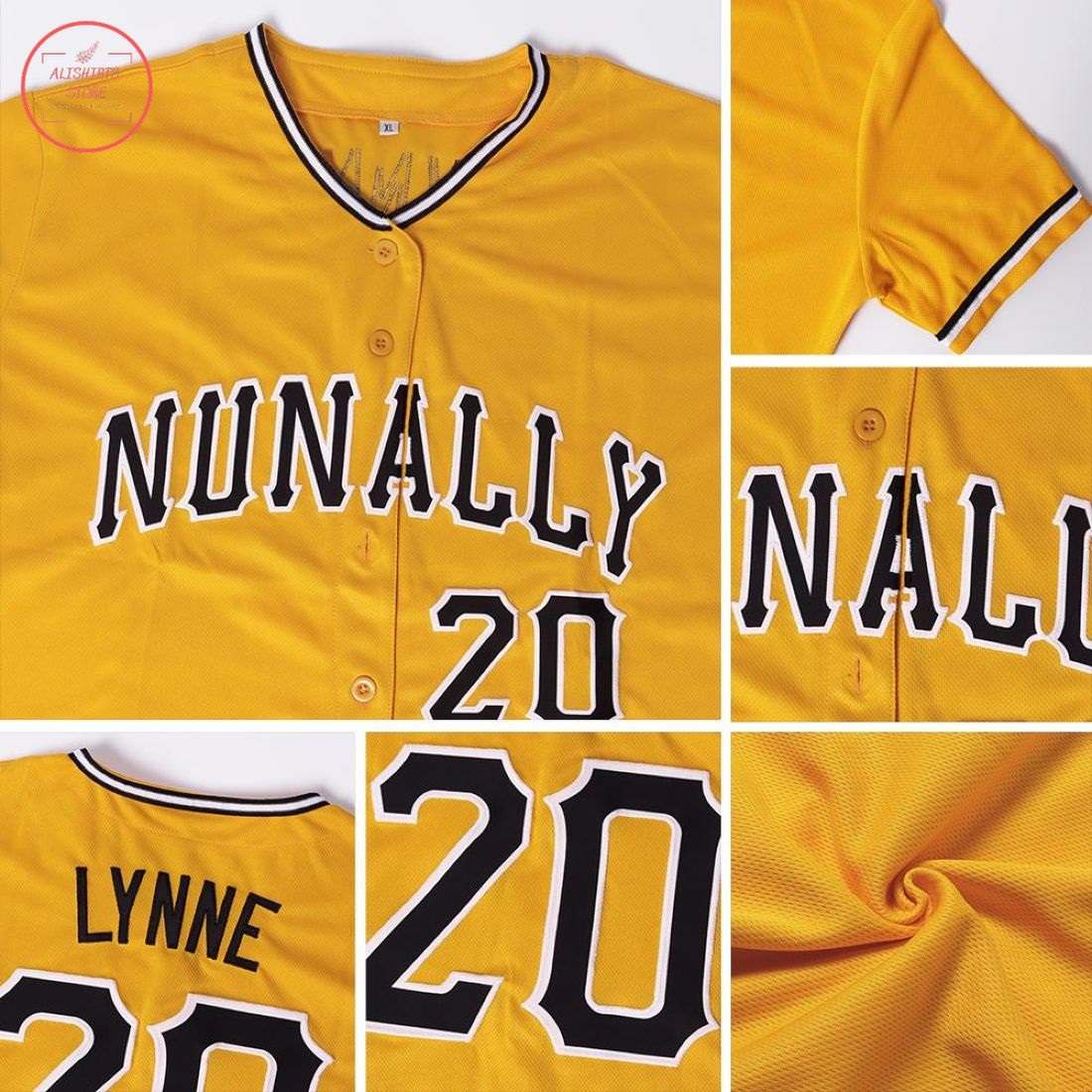Custom Gold Black White Baseball Jersey
