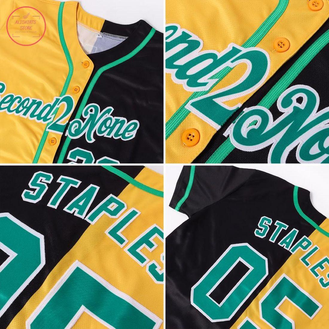Custom Kelly Green-Gold Split Baseball Jersey