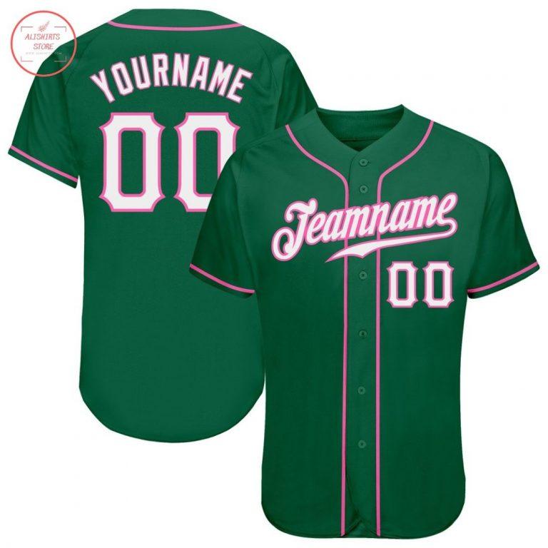 Custom Kelly Green White Pink Baseball Jersey