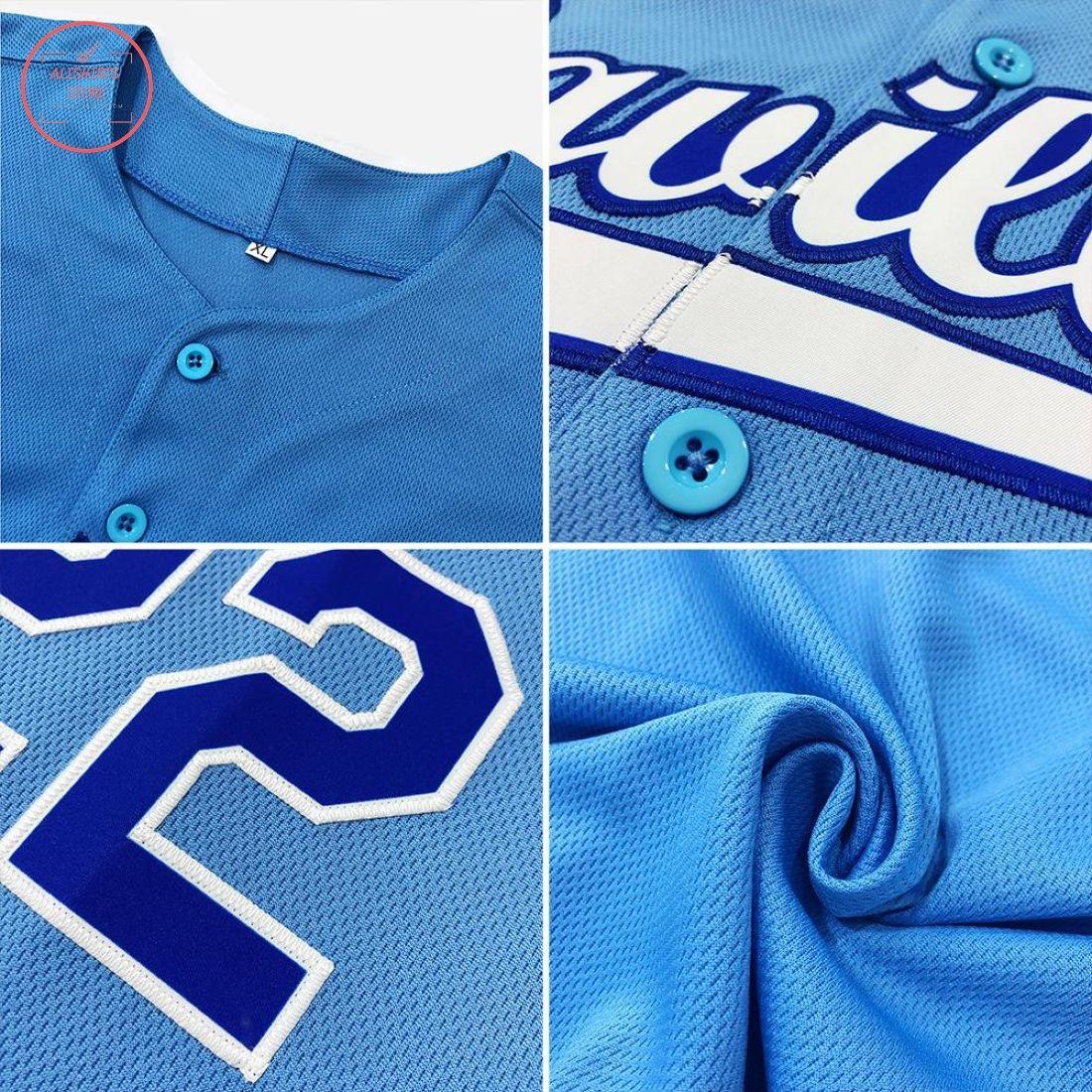 Custom Light Blue White Red Baseball Jersey
