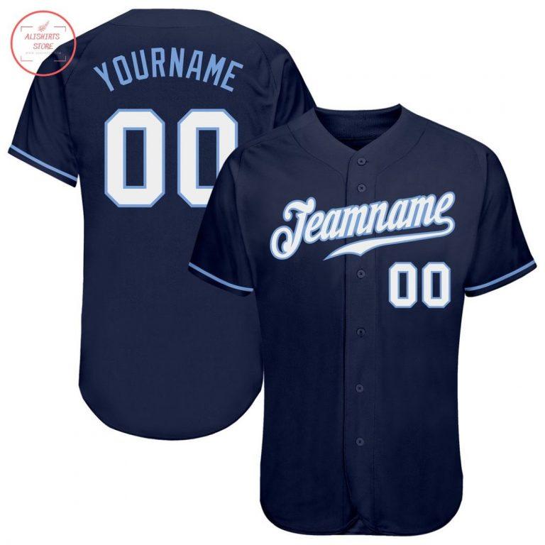 Custom Navy White-Light Blue Baseball Jersey