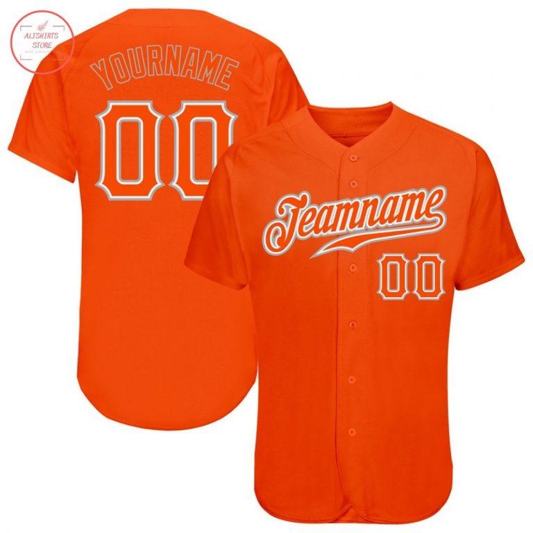 Custom Orange Orange Gray Baseball Jersey