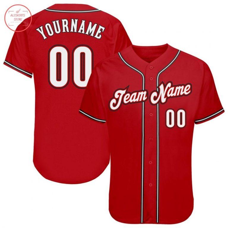 Custom Red White Black Baseball Jersey