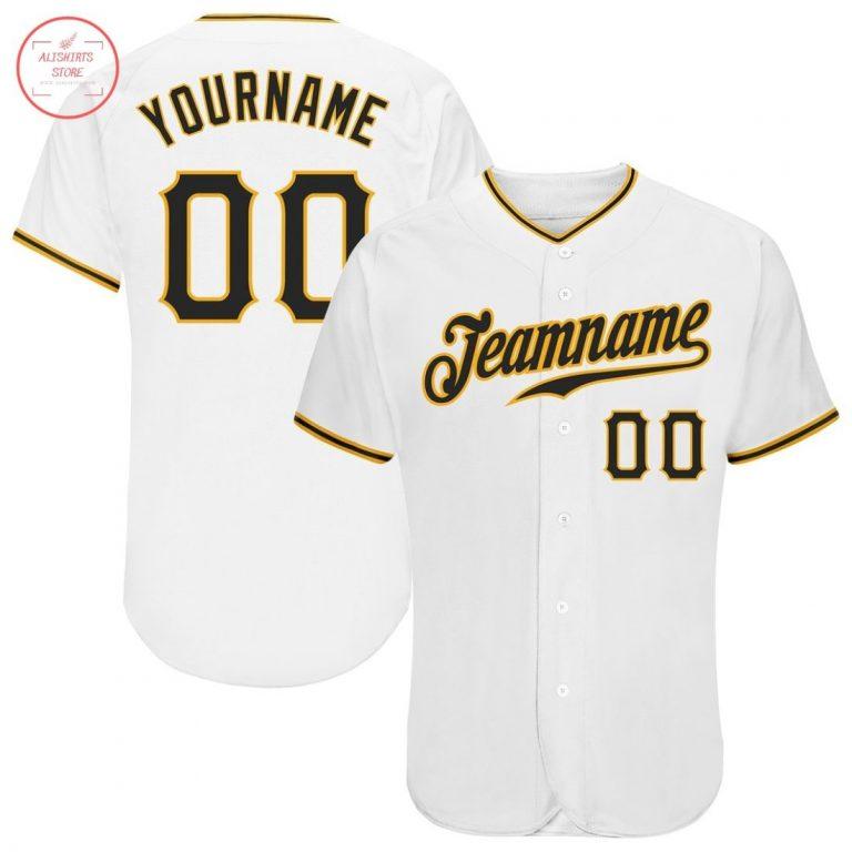 Custom White Black Gold Baseball Jersey
