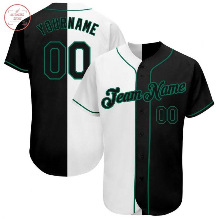 Custom White-Black Kelly Green Baseball Jersey