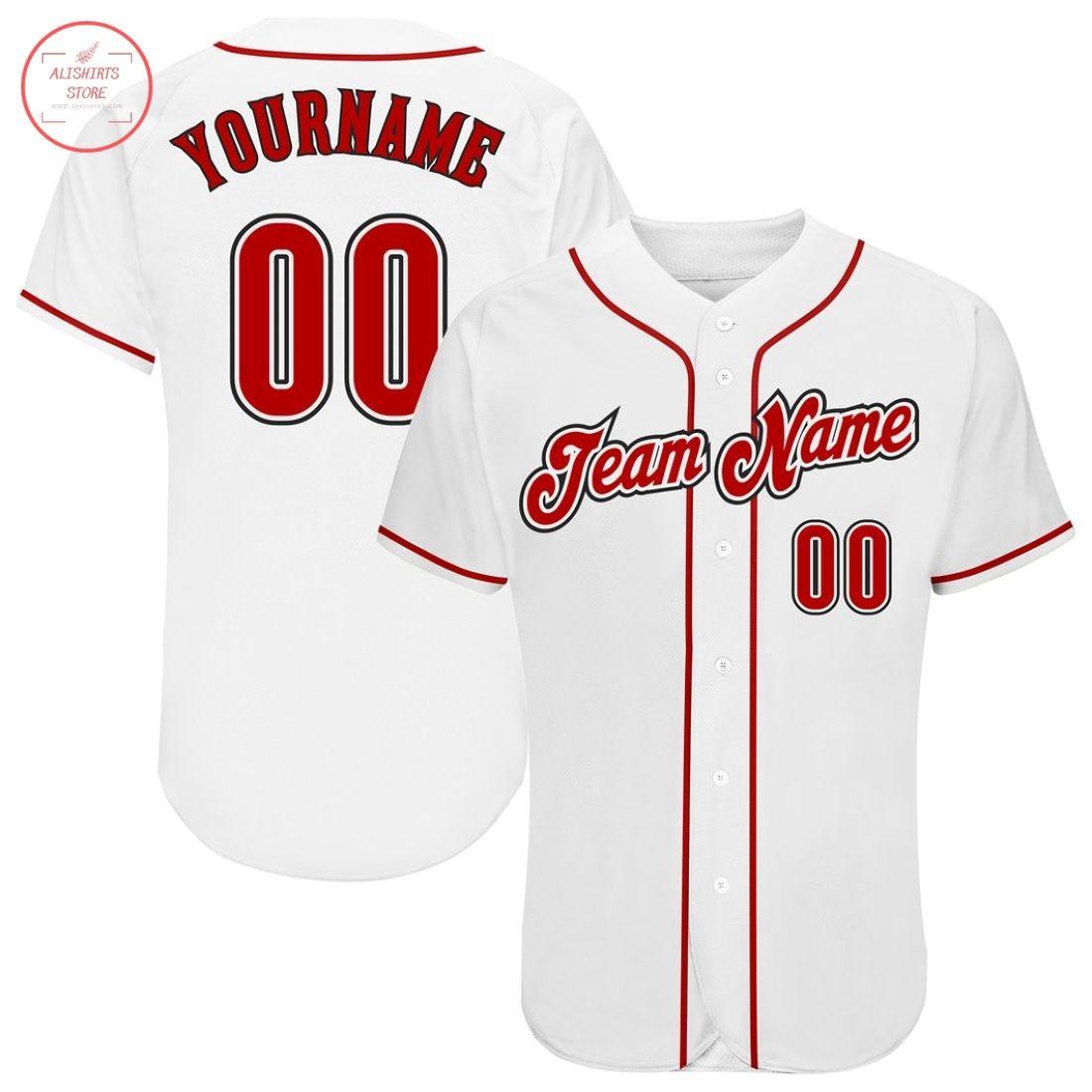 Custom White Red Black Baseball Jersey