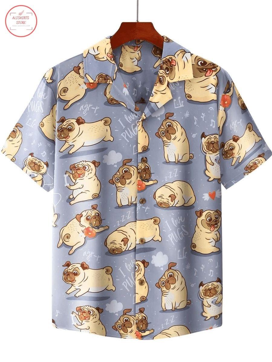 Cute Dogs I Love Pugs Hawaiian Shirt