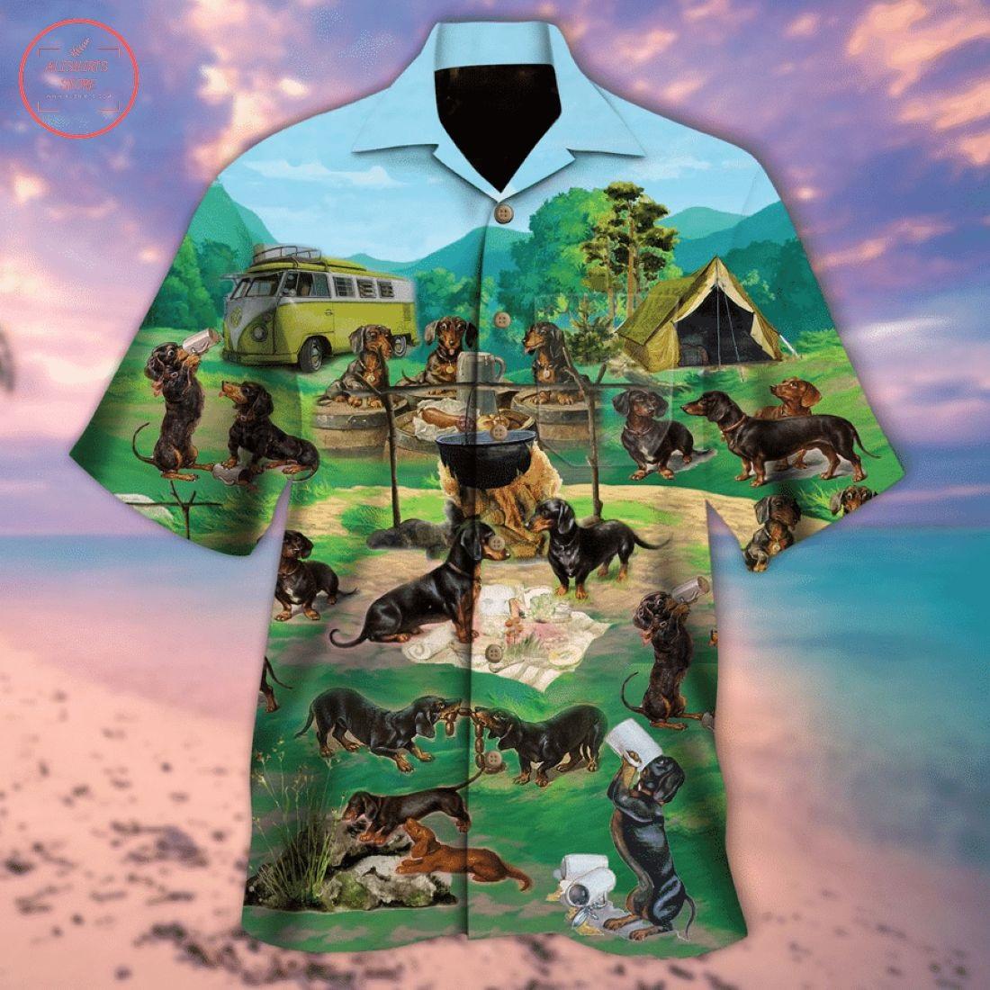 Dachshunds Go Camping Hawaiian Shirt