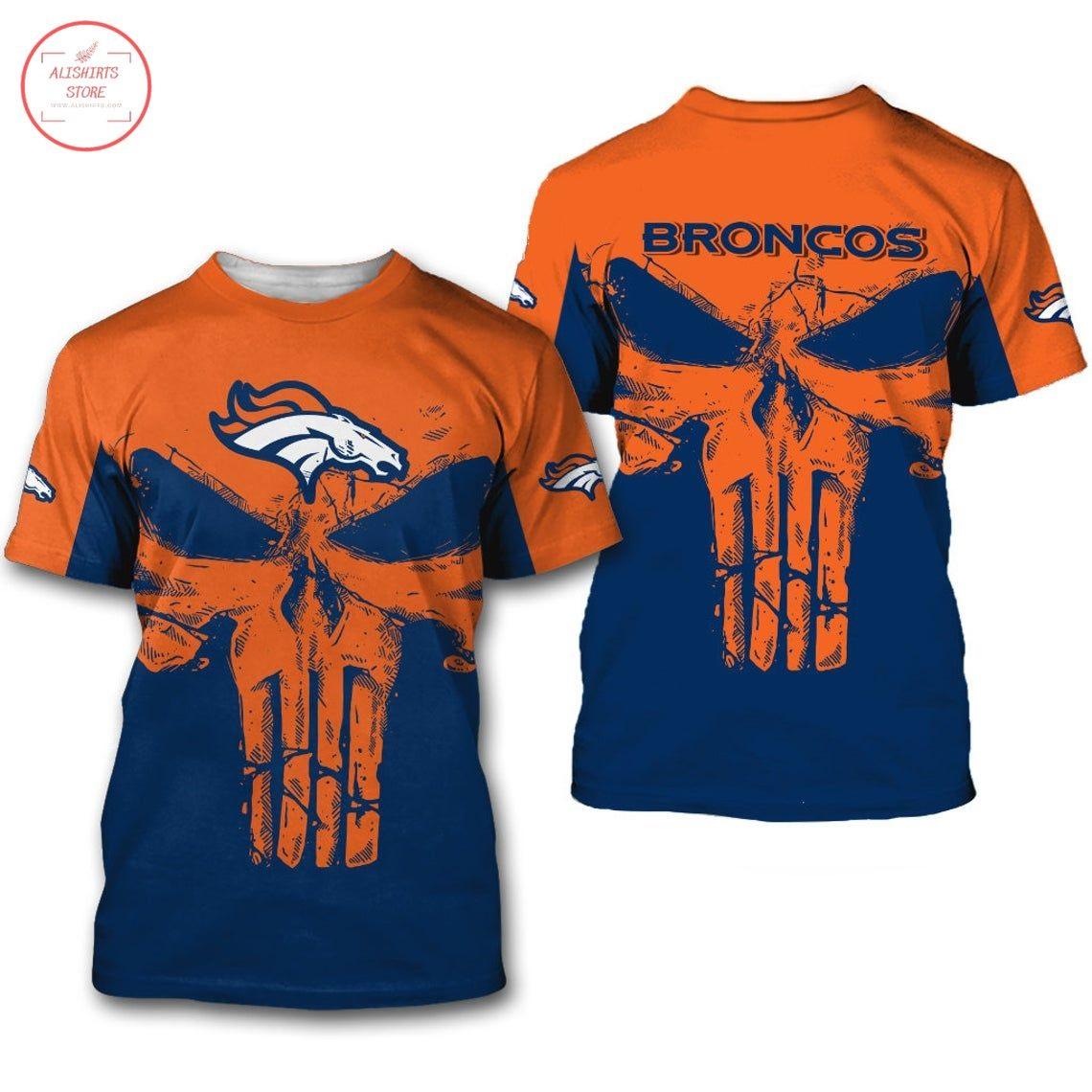 Denver Broncos Punisher Skull Shirt