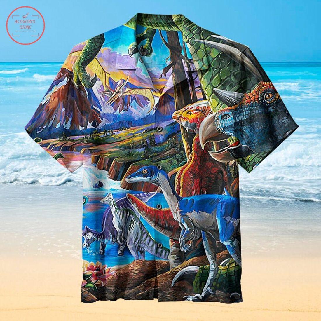 Dinosaur roaming Hawaiian Shirt