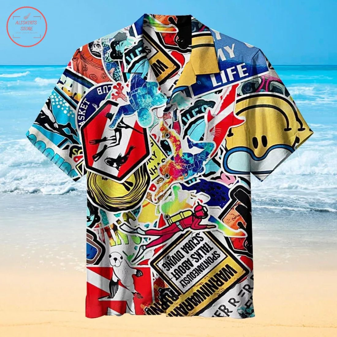 Diving Collage Hawaiian Shirt