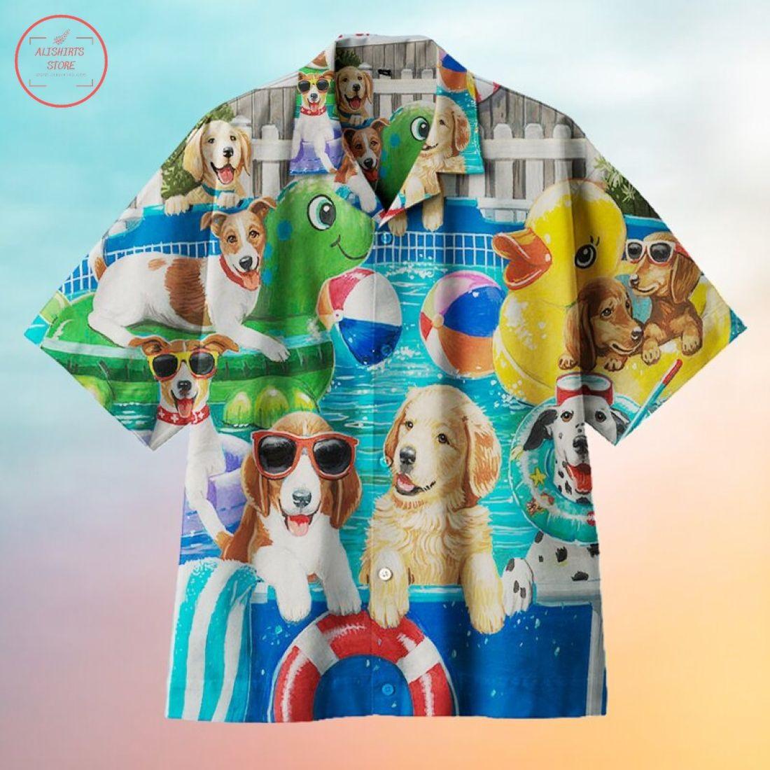 Dog Pool Party Hawaiian Shirt