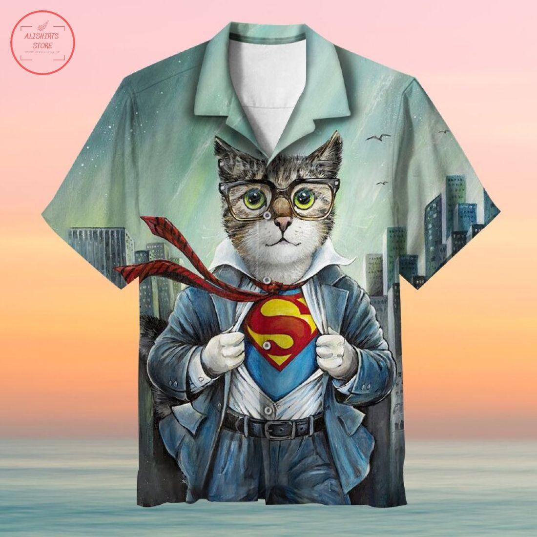 First Superman Cat in the City Hawaiian Shirt
