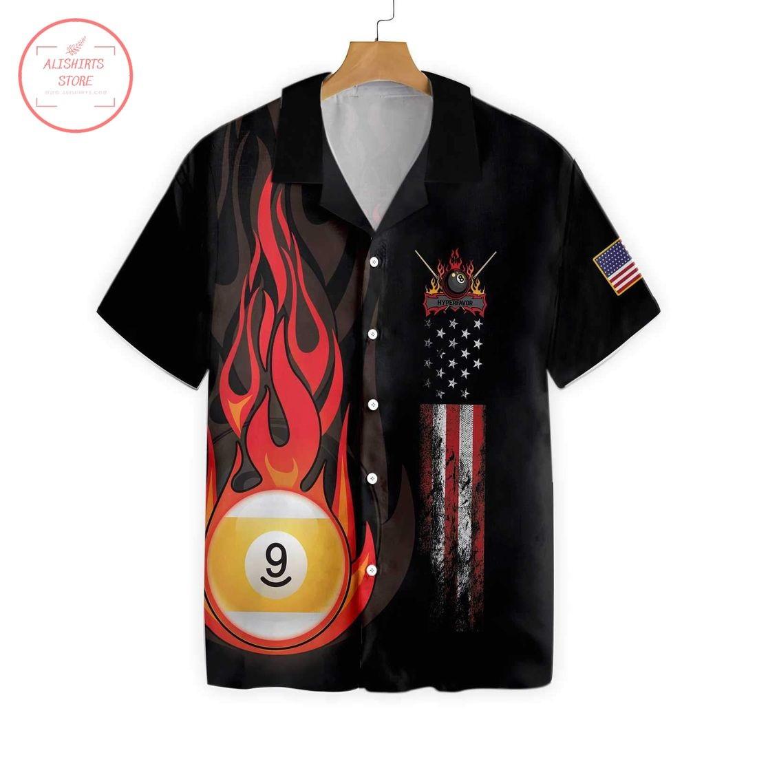 Flame 9 Ball Billiard Pool Hawaiian Shirt