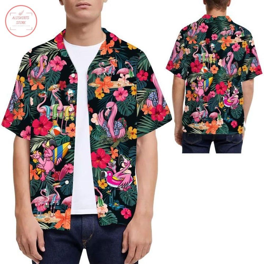 Flamingo Hibiscus Tropical Leaves Hawaiian Shirt