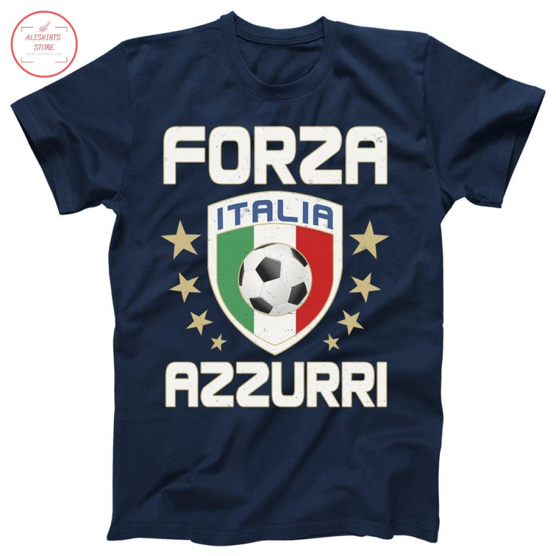 Forza Azzurri Italia Logo Soccer Team Shirt
